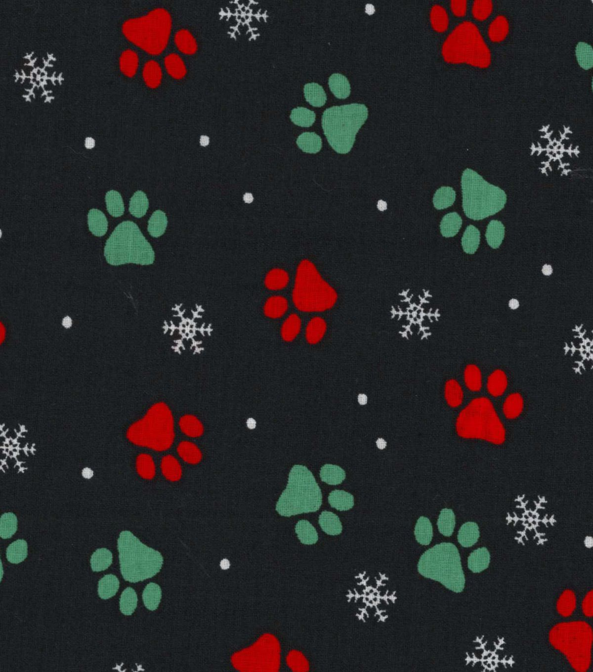 "Holiday Showcase? Christmas Cotton Fabric 43"" - Pawprints"