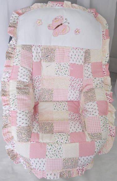 Capa Para Bebe Conforto Em Tecido Patchwork Rosa Bordado A