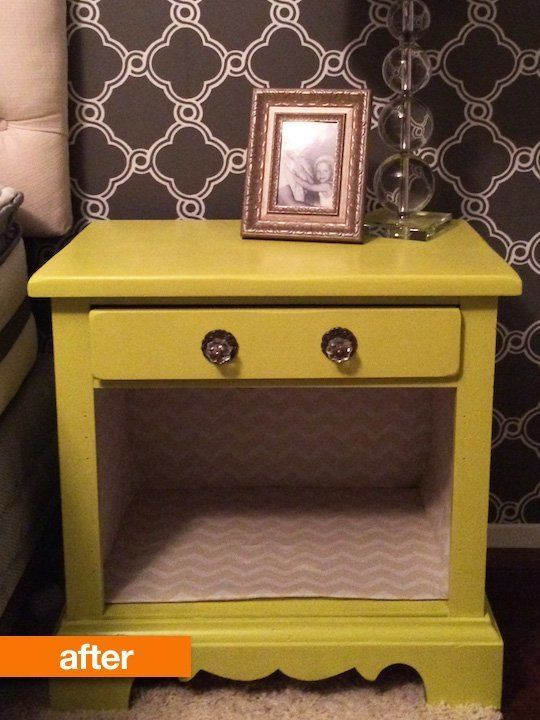 Before & After: A Dated Nightstand Gets a New Lease on Life- just painted and pulled off doors. Lined with chevron and replaced the handles