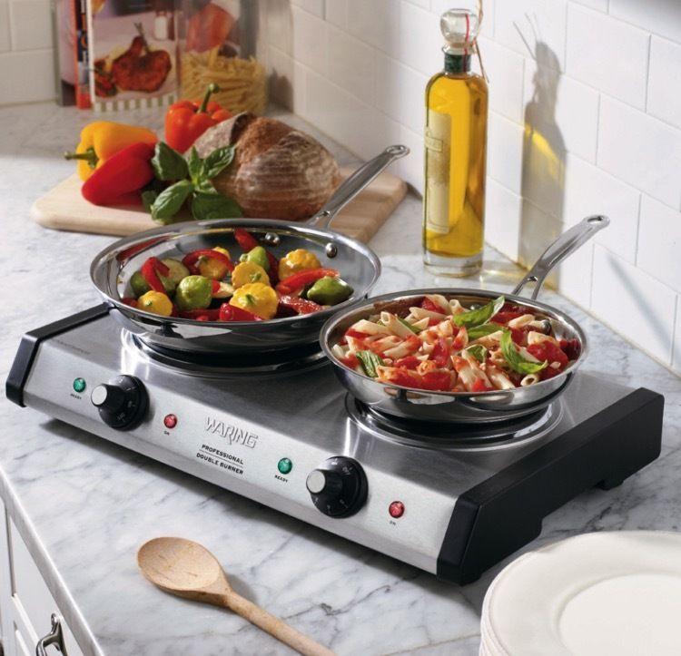 Elegant Waring Pro Brushed Stainless Steel Portable Double Burner   Overstock™  Shopping   Big Discounts On Waring Pro Cooktops U0026 Burners