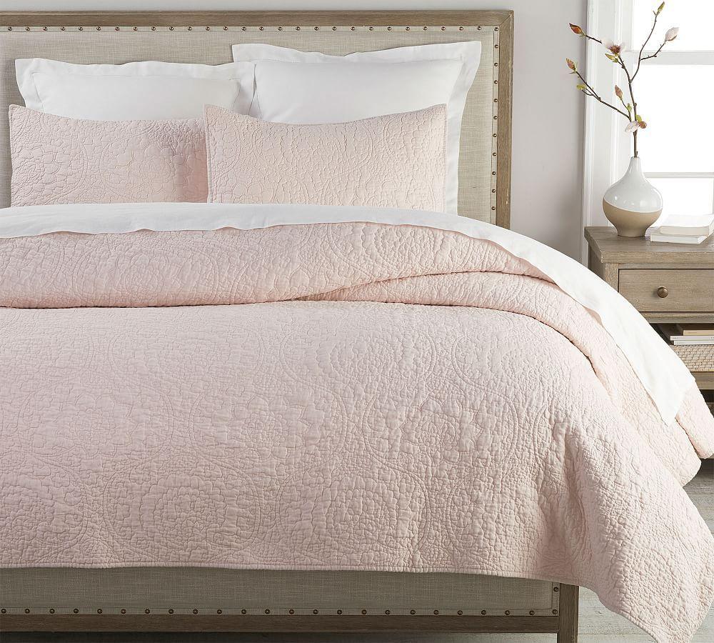 Belgian Flax Linen Floral Stitch Quilt Twin Soft Rose Soft