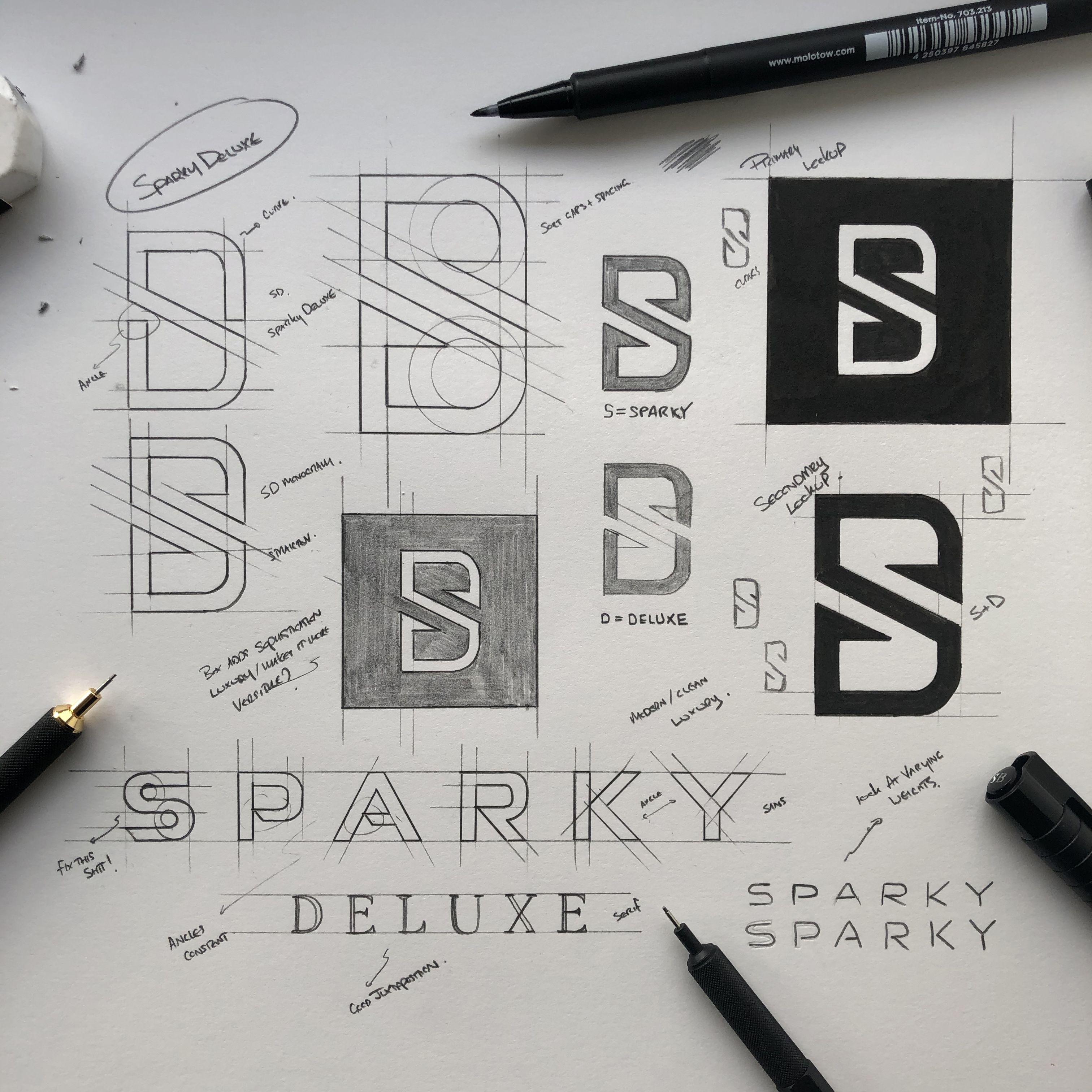 Sparky Deluxe in 2020 Logo sketches, Logo design, Logo