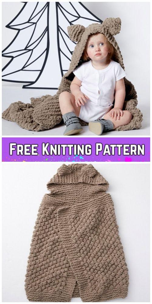 Knit Hooded Baby Blanket Free Knitting Patterns Knitting