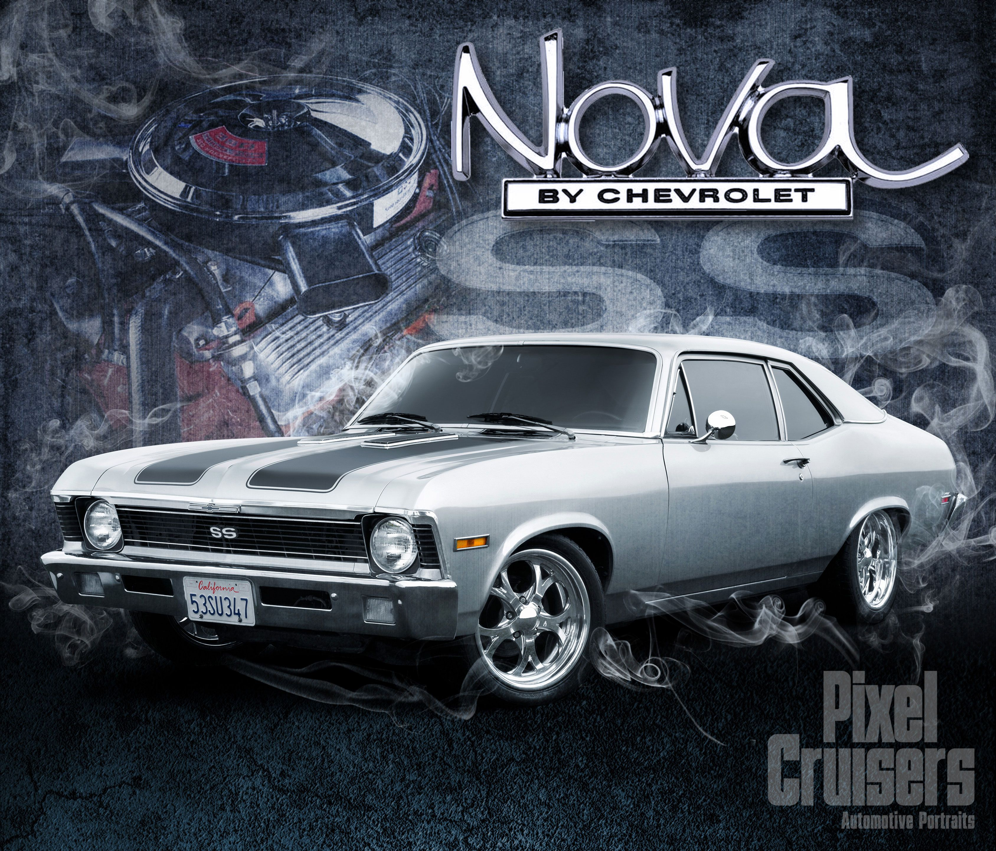 "chevy nova ""american muscle"" calendar page from the 2016 o'reilly"