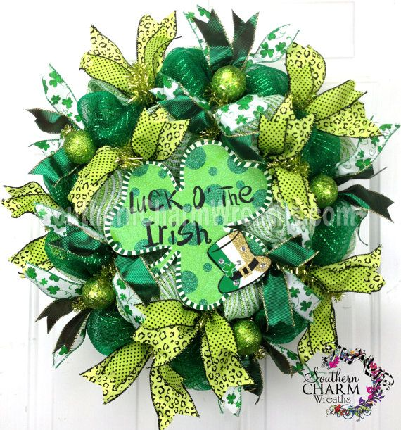 deco mesh st patrick 39 s day wreath slim by southerncharmwreaths luck o the irish. Black Bedroom Furniture Sets. Home Design Ideas