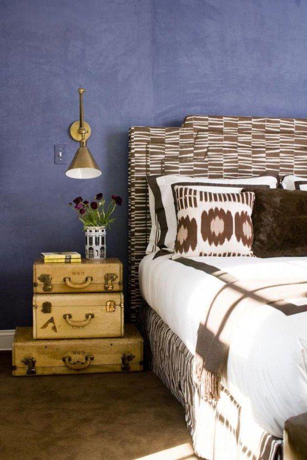 ideen alten koffer schlafzimmer nachttisch stapeln Deko - wandgestaltung schlafzimmer effektvolle ideen