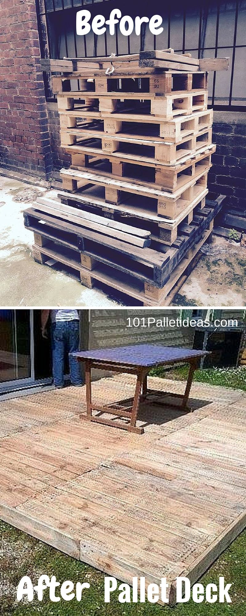 This DIY pallet deck flooring idea for