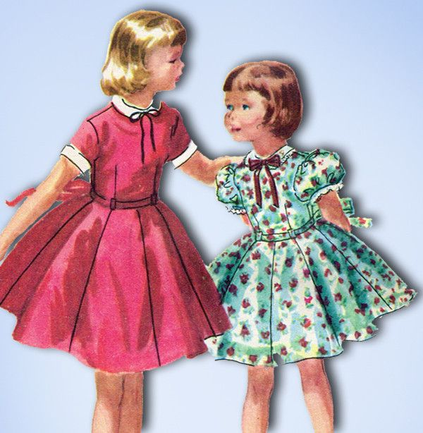 1950s Vintage Little Girls Dress 1955 McCalls VTG Sewing Pattern ...
