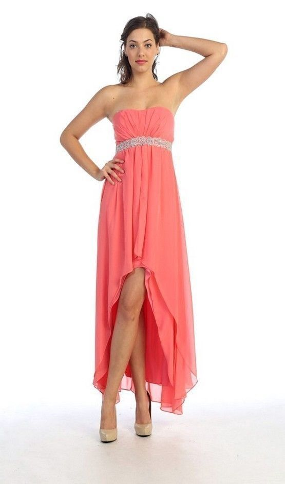 d63911f6059 LONG HIGH-LOW STRAPLESS BEADED EMPIRE-WAIST DRESS FOR PROM BRIDESMAID .