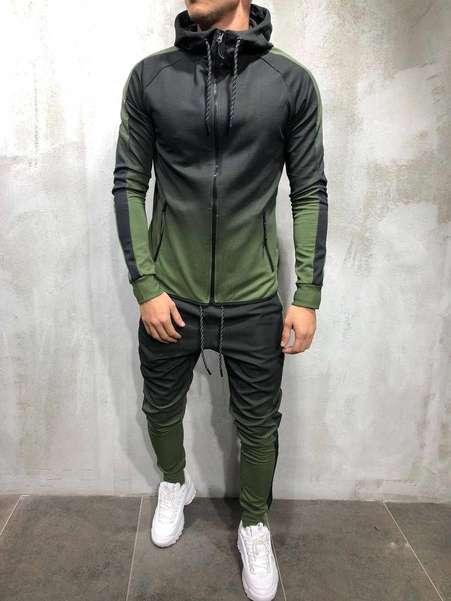 Men s Tracksuit Streetwear Dip Dye Wash Full Zip Top Hooded Degrade Color  Elastic Ankle Slim Fit Sweatsuit- PRODUCT FEATURES  Men s Tracksuit e06143968a7