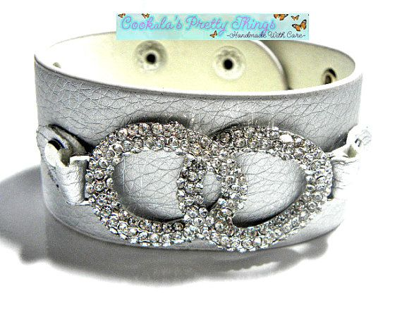 Soft Gray Leather Bracelet with Swavorski by CookalasHouseOfCards, $14.94