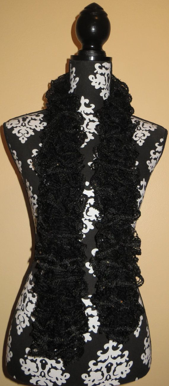 Knitted Sashay Sequins Caviar Ruffle Scarf By Vickisrufflescarves