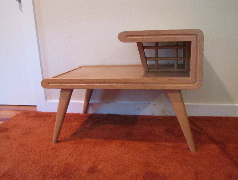 Perfect Mid Century Modern Step Table, Side Table, Two Tier End Table, Blonde Wood