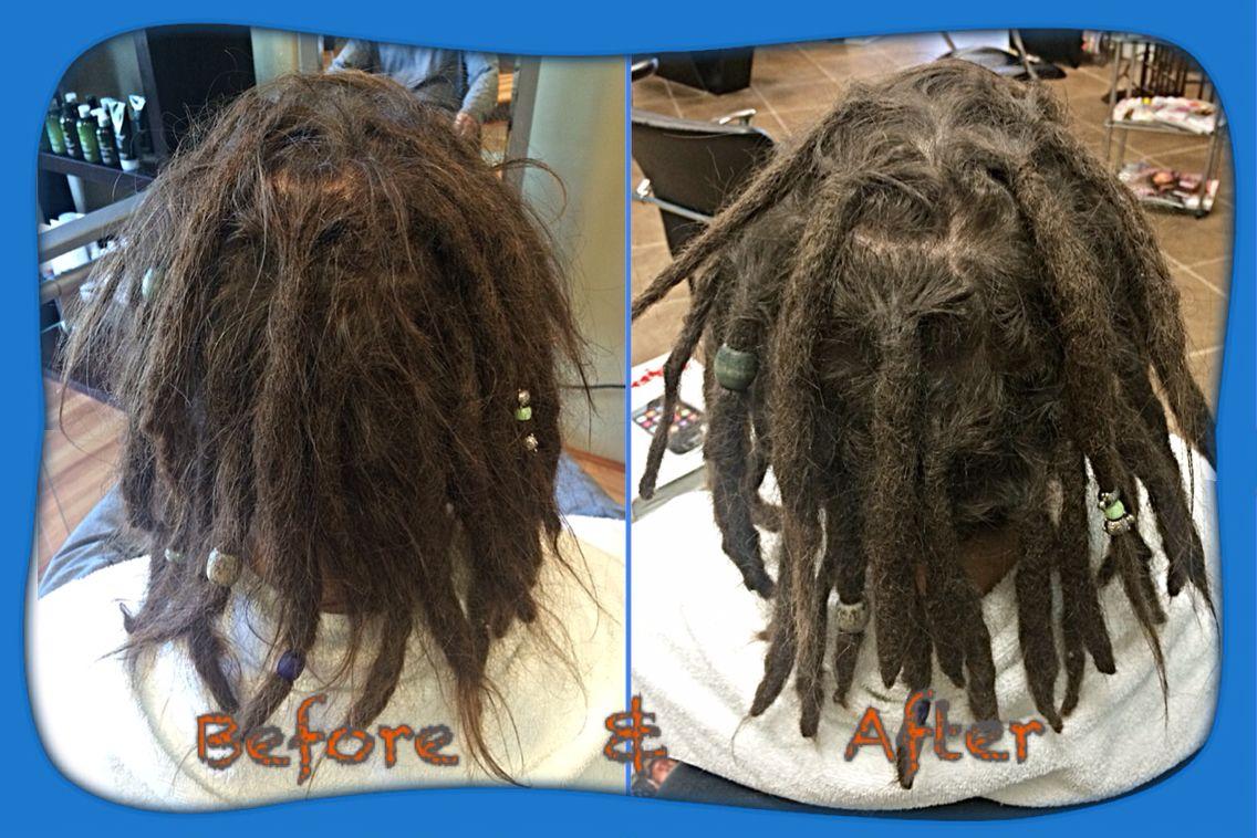 Before & After dreadlock maintenance.  #caucasiandreads #caucasiandreadlocks #dreads #dreadlocks #hairllucinations #dreadlockmaintenance #professionalcaucasiandreadlocks #georgiadreadheads #georgiadreads #atlantacaucasiandreadlocks #dreadlocksinsuwanee