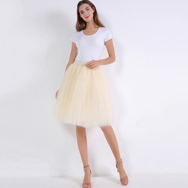 ad04e8cc8e9b3 Buy Princess Midi Tulle Skirt Pleated Dance Tutu Skirts Women Lolita  Petticoat Party Skirts at Narvay