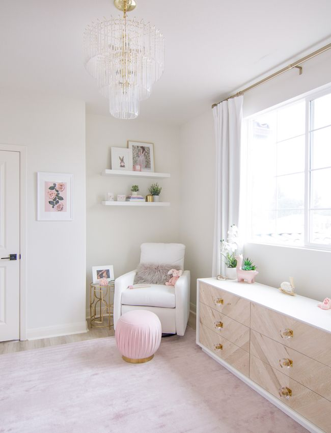 Girl's White & Blush Nursery in Los Angeles images