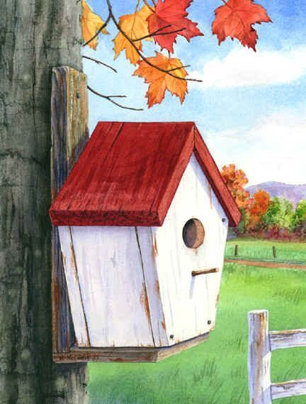 Birdhouse With Red Roof By Maureen McCarthy