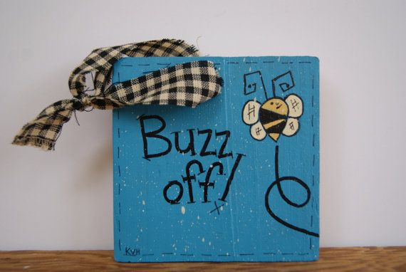 Bumble Bee Mini Sign Buzz Off Decoration Ornament