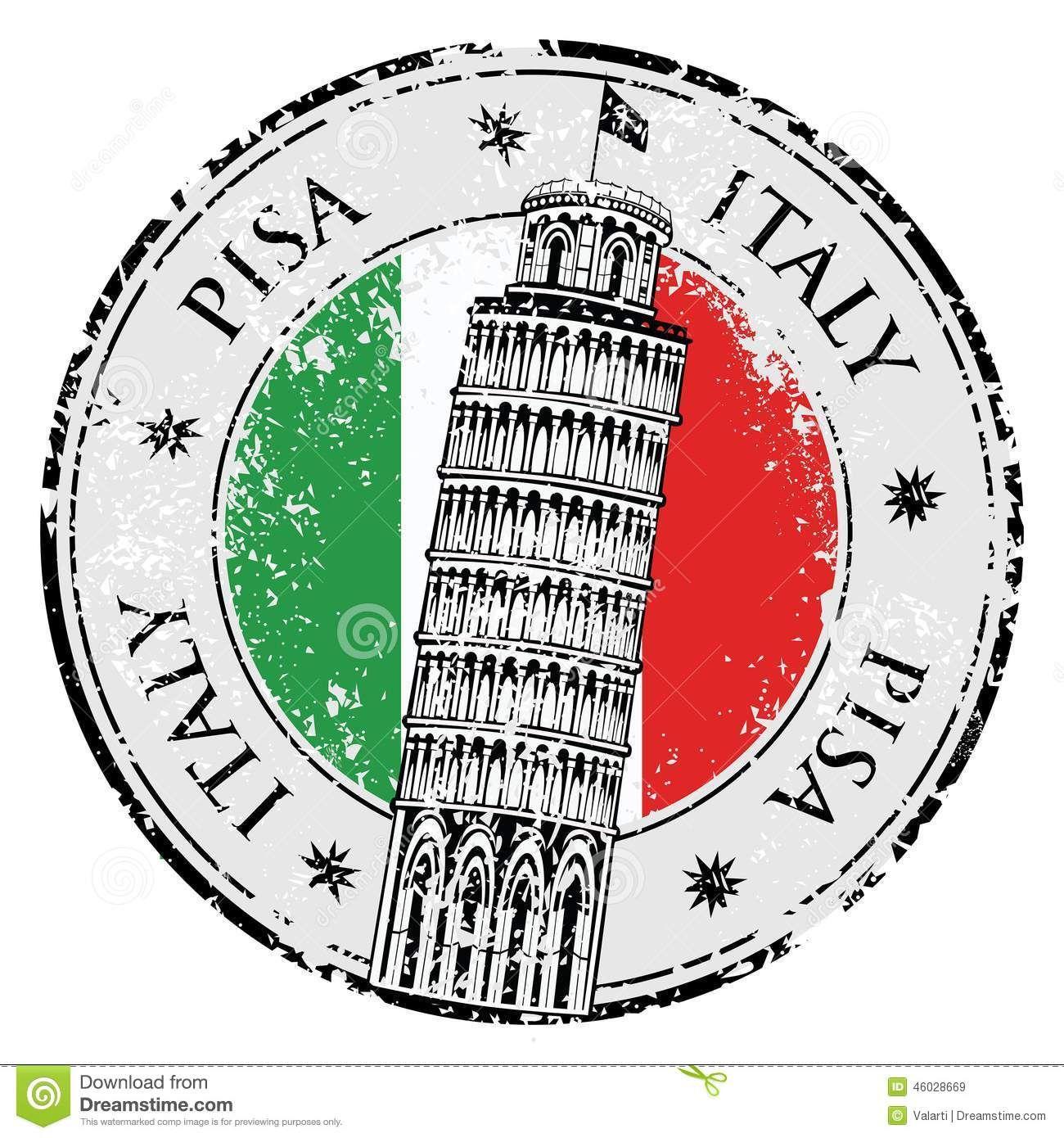 Torre De Pisa Del Sello En Italia Vector 46028669 Jpg 1 300 1 390 Pixeles Sellos Pegatinas Imprimibles Italia