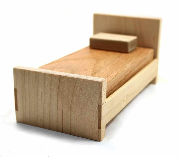 wood dollhouse bed miniature furniture bed maple furniture doll bed miniature bed mini. Black Bedroom Furniture Sets. Home Design Ideas