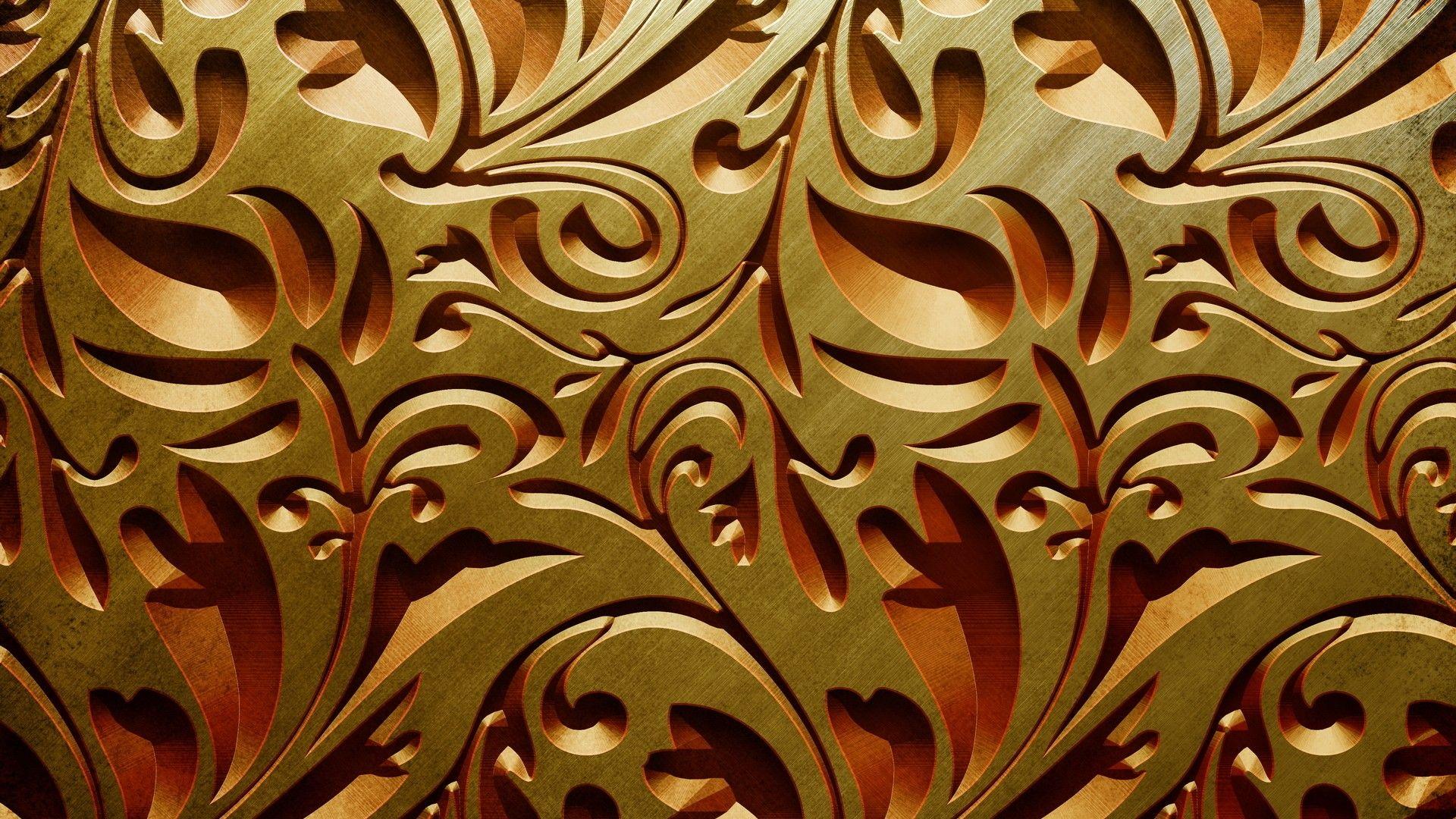 Download Textures Gold Floral Wallpaper 1920x1080
