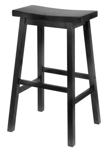Winsome Wood Inch Saddle Seat Bar Stool Black