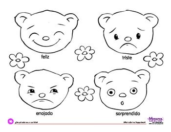 Coloring Page Feelings BearsWhat color is a happy bear feliz