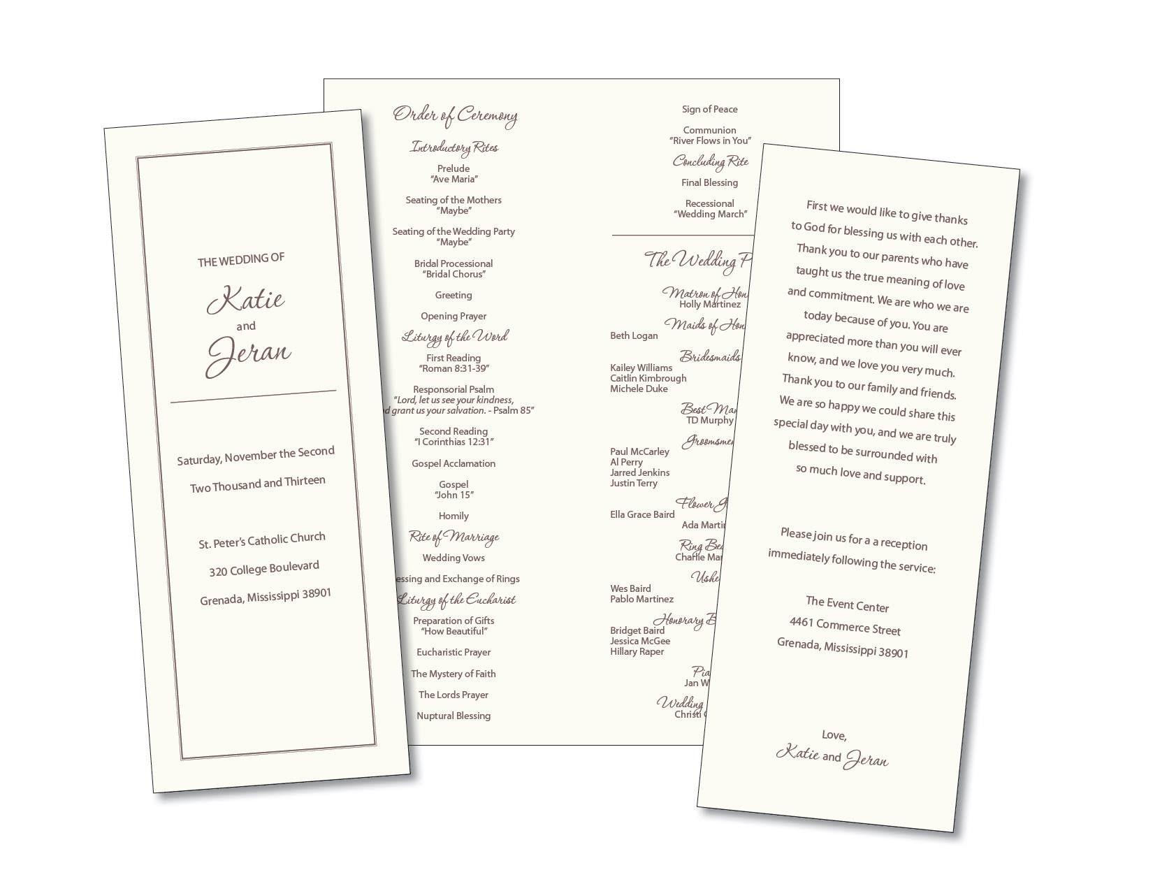 simple catholic wedding program 01.14.17 Wedding Program