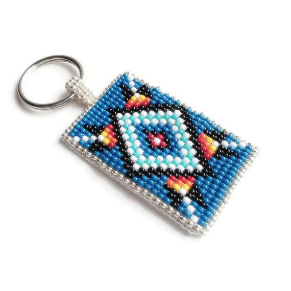 Blue Boho Native American Style Beadwork Keychain with Diamond Design