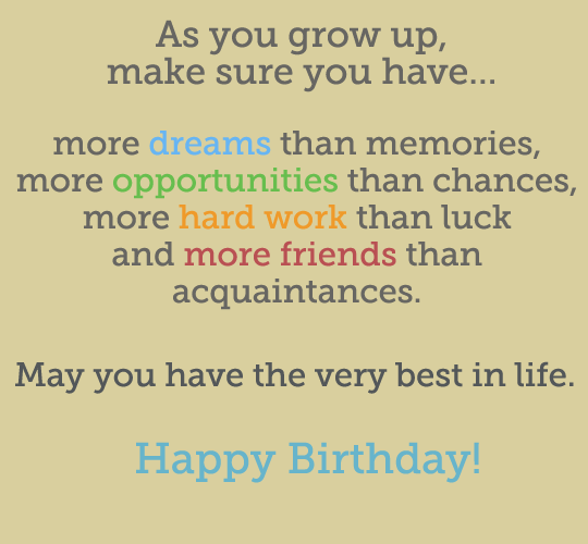As you grow up make sure you have more opportunities than chances – Words for 21st Birthday Card