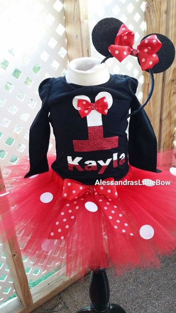 new Minnie costume Tutu Outfit 1ST BIRTHDAY mouse ears crochet top 12-24m