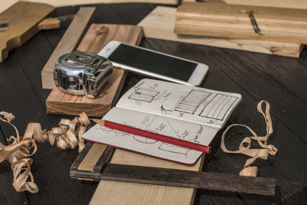 Notebook With Drawings, Pencil, Tape Measure, Smartphone
