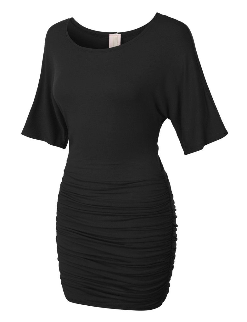 Womens stretchy batwing sleeve scoop neck ruched bodycon night looking and feeling sexy has never been easier with this stretchy batwing sleeve scoop neck ruched bodycon night cocktail dress a loose top with a ombrellifo Choice Image