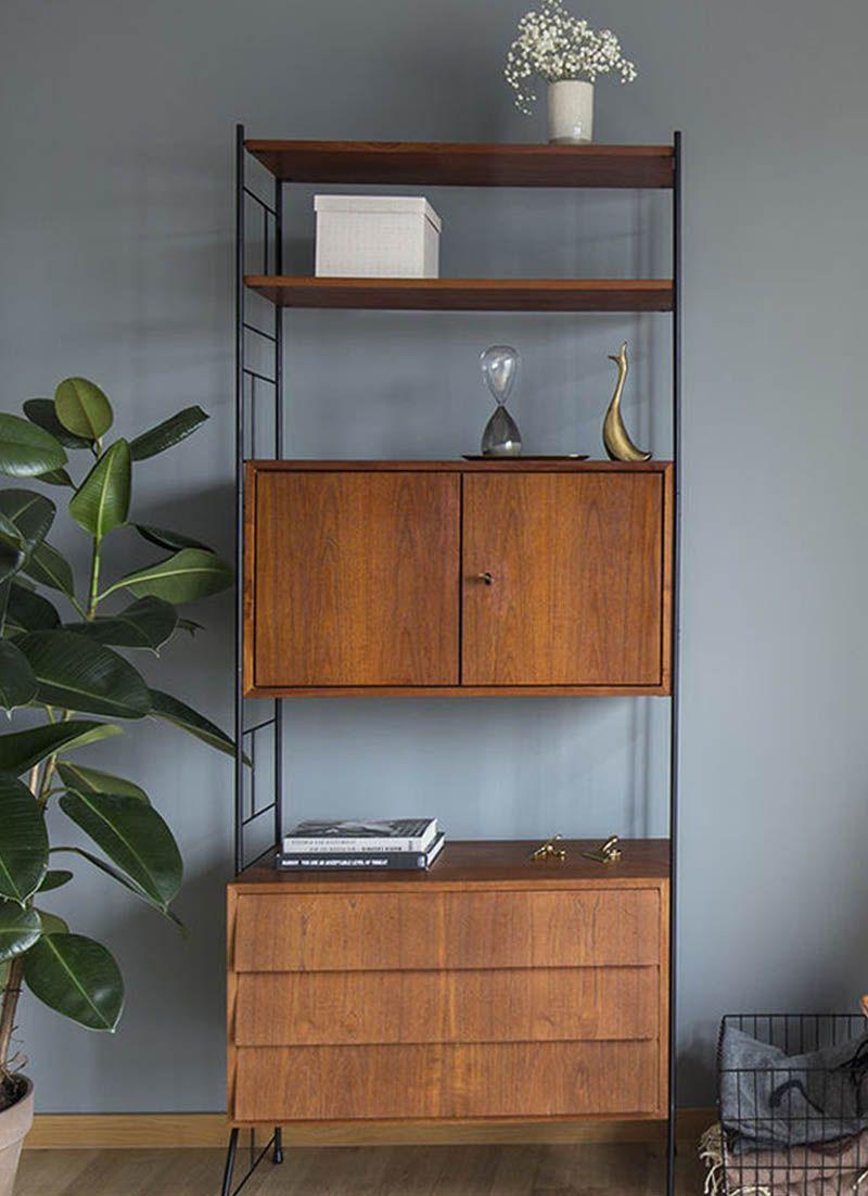 Vintage innenarchitektur skandinavisches design vintage string regal teakholz  penthouse