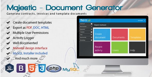 Awesome Majestic Document Generator From Template Build Custom Contracts And Invoices Miscellaneous Web Software Document Templates Templates