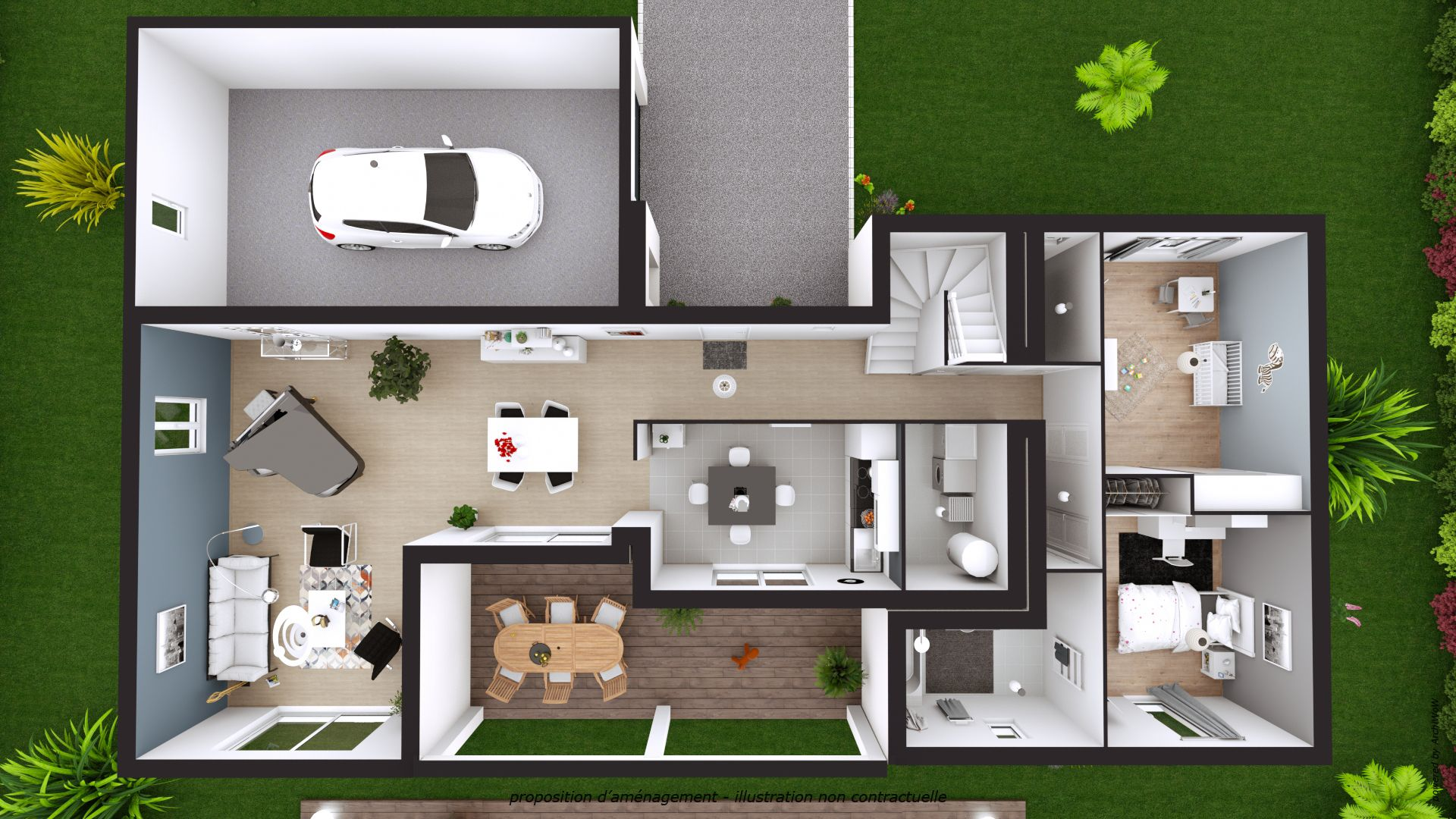 3d Floor Plan Of A Single Family House With Garage Created By Cedreo 3d Architecture Software Floor Plan Creator Architectural Floor Plans Floor Plans