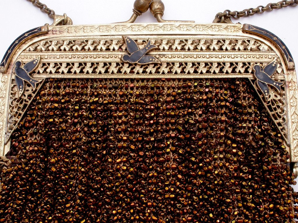 Art Nouveau Brown Crochet Beaded Purse Enamel Birds