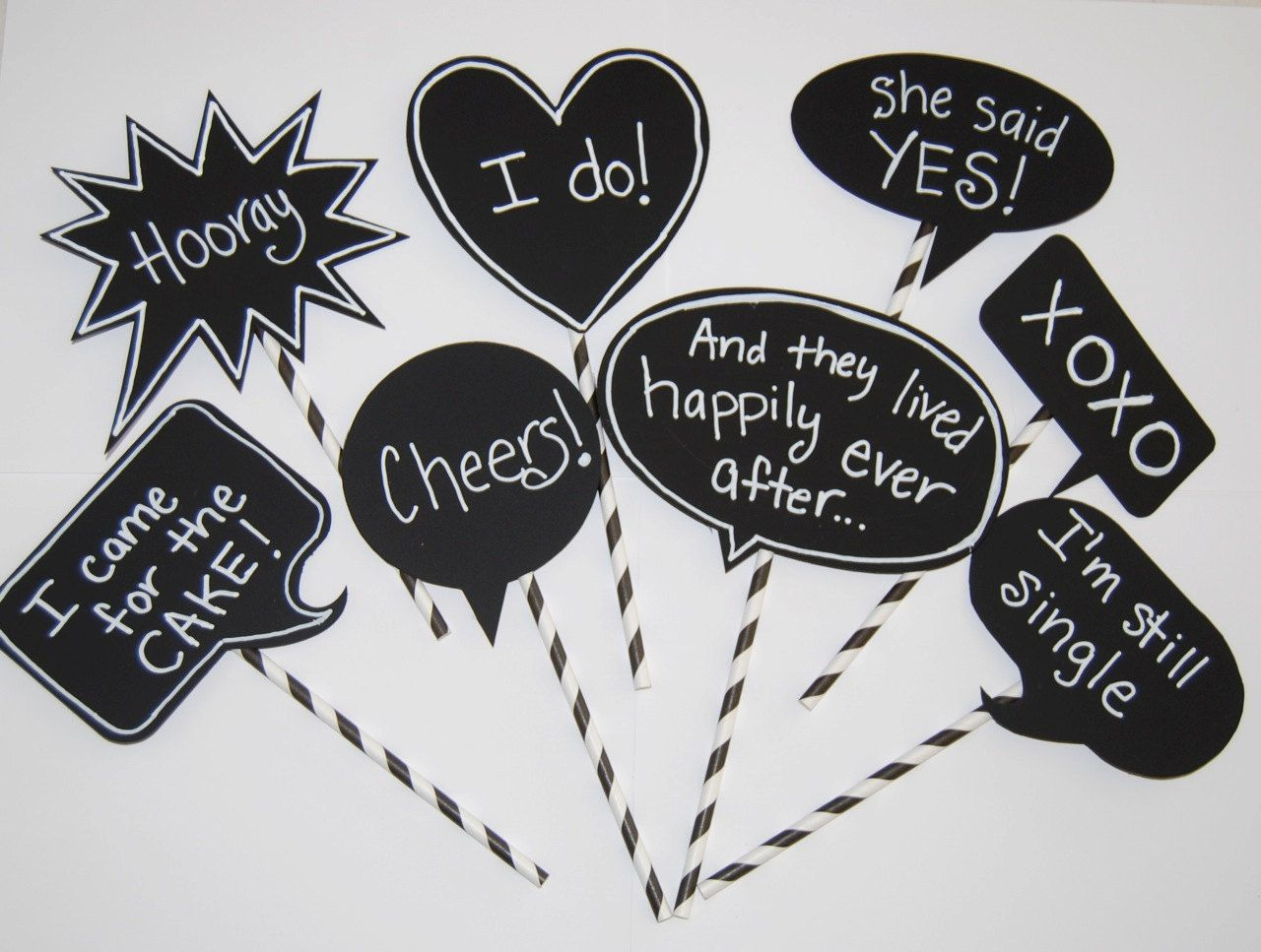 8 Chalkboard Photo Booth Props Sch Bubbles Chalk Board Message Signs Party Decorations Wedding