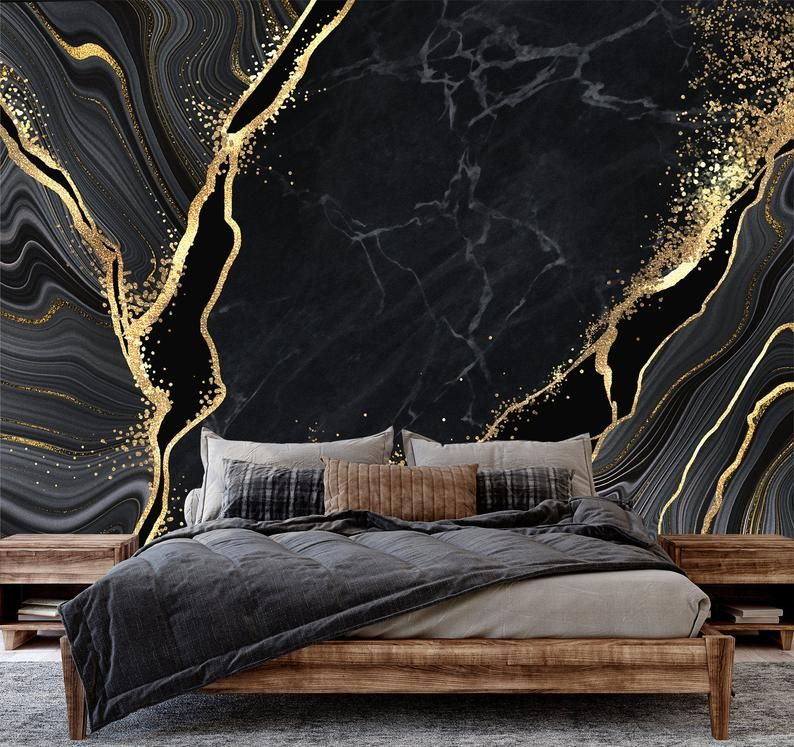 Black And Yellow Marble Photo Wallpaper No Metallic Effects Etsy Black And Gold Marble Photo Wallpaper Gold Marble Wallpaper