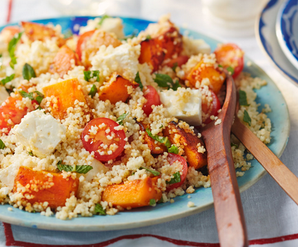 This Vegetarian Friendly Bbq Delight Is Packed With Butternut Squash And Feta Cheese And Lifted With A Delicious Pir Bbq Dishes Couscous Salad Tesco Real Food