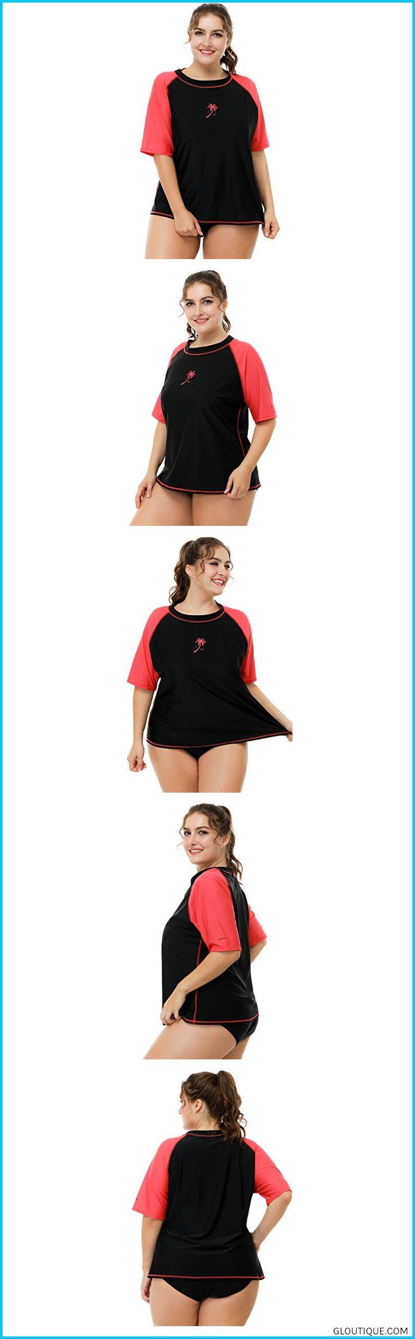 ddd1233a88 Color block and floral rashguard swimuit features short-sleeve and crew  ne#shopSociala Womens Plus Size Swim Shirt Sun Protection Rashguard  Swimsuit 1X ...