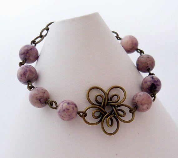 Wire Flower Bracelet - Purple Fossil Stone, Antiqued brass. $18.00, via Etsy.