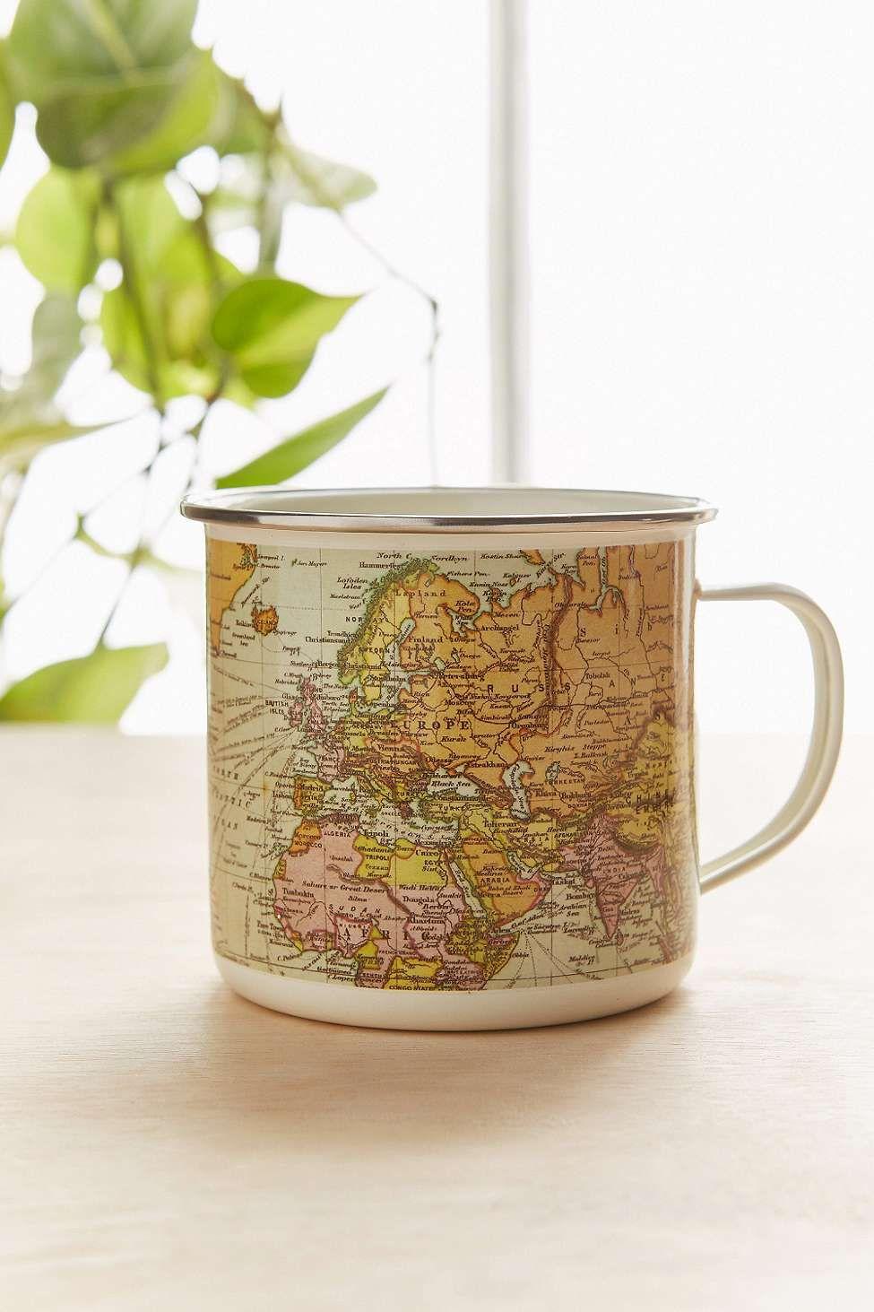 Emaillierter Becher mit Weltkarte | Weltkarte, Becher und Urban ...