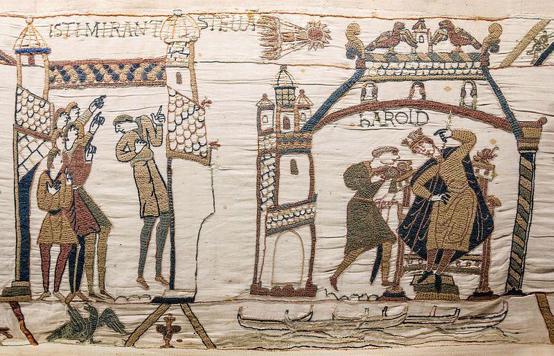 Una escena del tapiz de Bayeux muestra a hombres que miran fijamente - tapices modernos