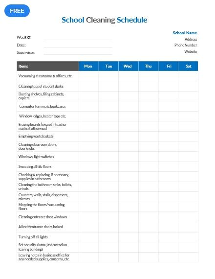 Free School Cleaning Schedule Template | Cleaning schedule ...
