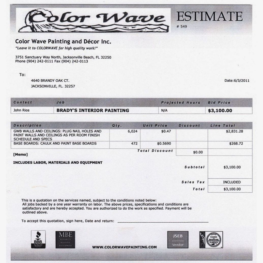 Browse Our Image Of House Painting Invoice Template Quote Template Painting Quotes Estimate Template