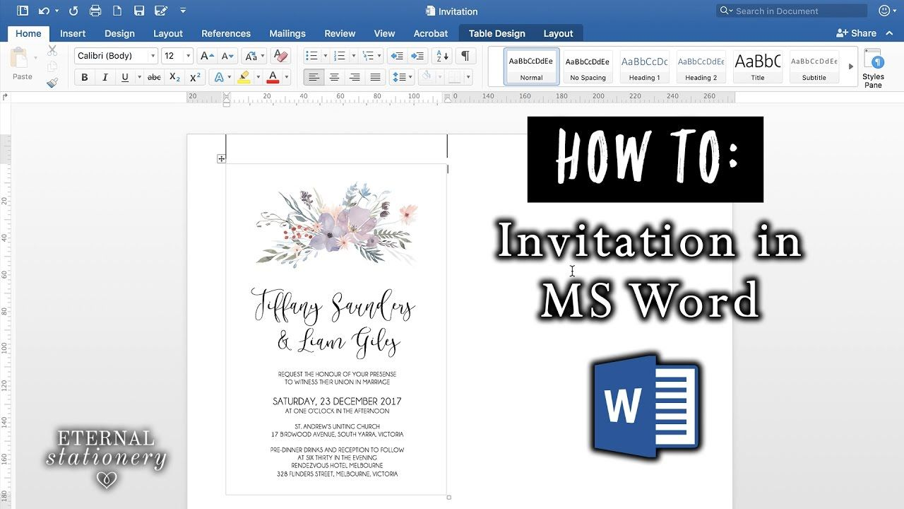 How To Make An Invitation In Microsoft Word Diy Wedding Invitations How To Make Invitations Wedding Invitations Diy Making Wedding Invitations Making invitations on microsoft word