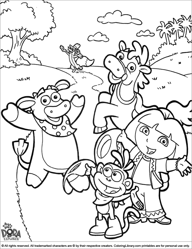 Dora The Explorer Coloring Page Dora And Friends Waving Hello Dora Coloring Dora The Explorer Cartoon Coloring Pages