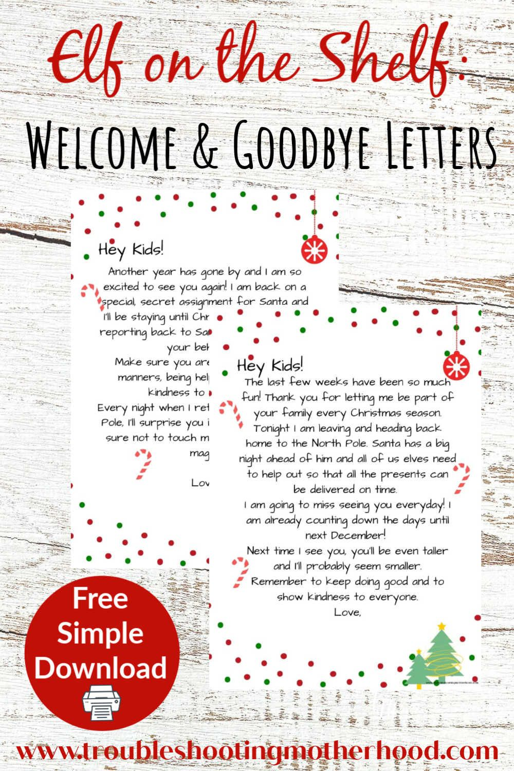 Elf on The Shelf Welcome & Goodbye Letters Free Printable