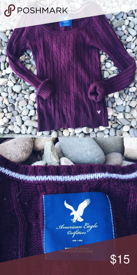 AE wine colored sweater The perfect fall color! This sweater offers so many opportunities due to its versatility! Wear over an Oxford or with your favorite excursion vest over it! Flawless and perfect for chilly weather! American Eagle Outfitters Sweaters